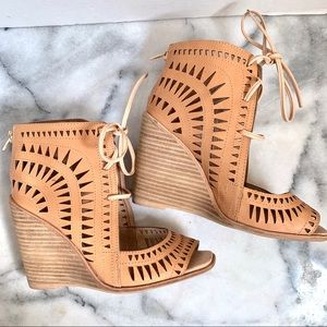 Jeffrey Campbell Nude Leather Rodillo Wedge Sandal